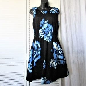 Calvin Klein black scuba blue floral dress 10
